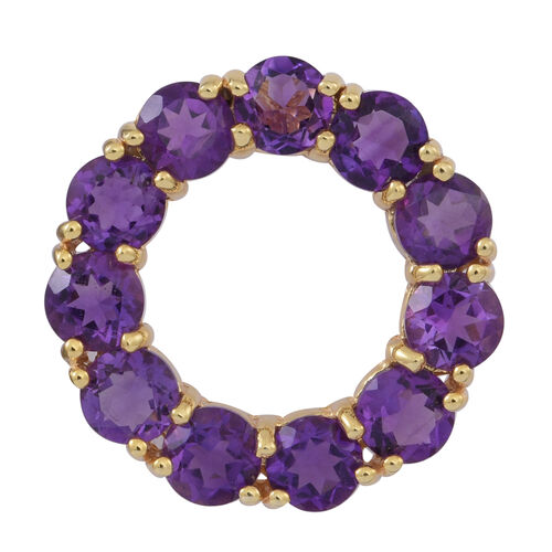 Amethyst (Rnd) Circle Pendant in Yellow Gold Overlay Sterling Silver 5.000 Ct.