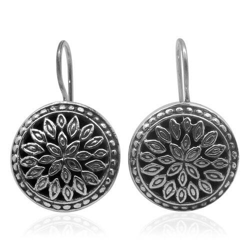 Royal Bali Collection Sterling Silver Floral Hook Earrings, Silver wt 8.95 Gms.