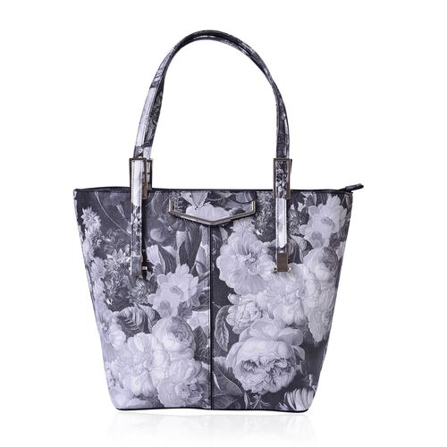 Chelsea Grey with Black Floral Pattern Tote Bag With Adjustable Shoulder Strap  (Size 39x29x32x15 Cm)
