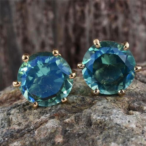 Peacock Quartz (Rnd) Stud Earrings (with Push Back) in 14K Gold Overlay Sterling Silver 7.500 Ct.