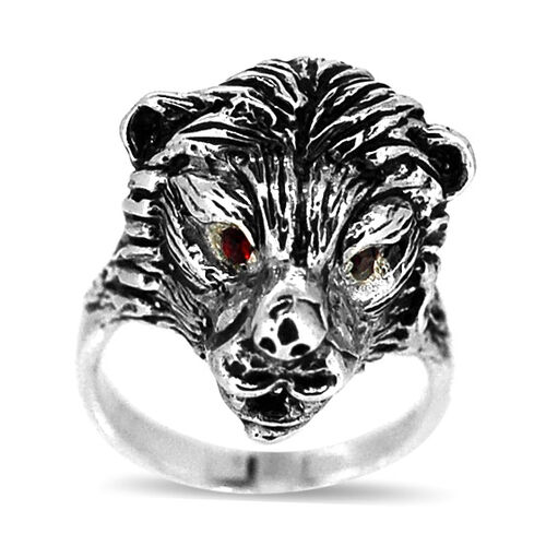 AAA Red Austrian Crystal Wolf Head Ring in Sterling Silver