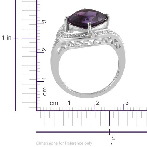 Lusaka Amethyst (Cush 3.75 Ct), Diamond Ring in Platinum Overlay Sterling Silver 3.770 Ct.