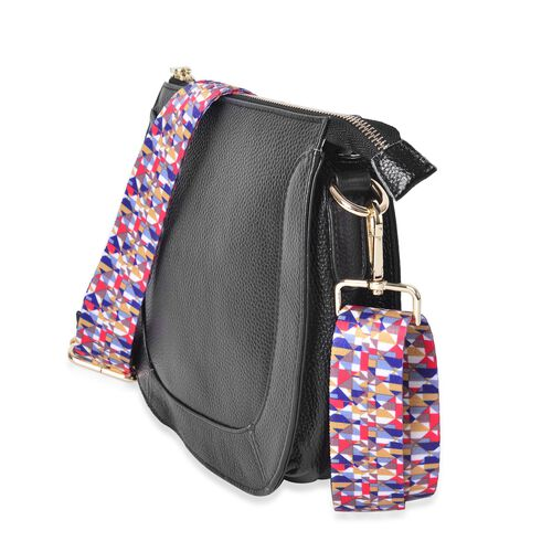 100% Genuine Leather Black Colour Crossbody Bag with Colourful Removable Shoulder Strap (Size 22X20X8 Cm)