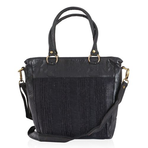 Genuine Leather Black Colour Hand Bag with Adjustable and Removable Shoulder Strap (Size 26x35x6.5 Cm)