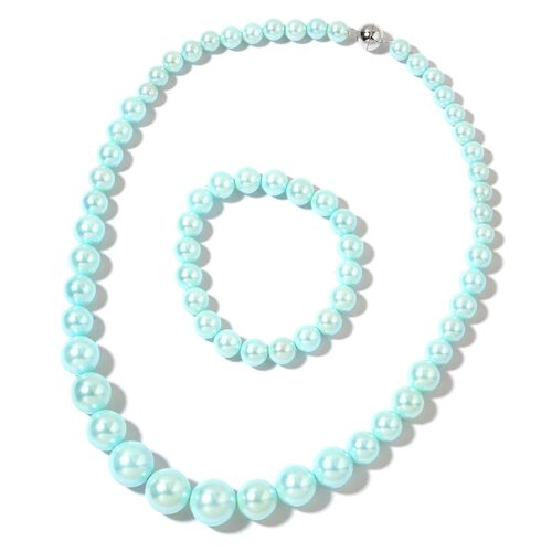 Super Auction - Graduated Sea Green Shell Pearl Necklace (Size 20) with Sterling Silver Magnetic Lock and Stretchable Bracelet (Size 7.5)