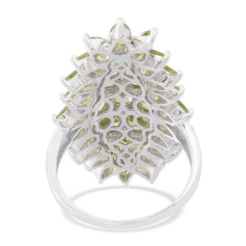 Hebei Peridot (Ovl) Ring in Rhodium Plated Sterling Silver 9.000 Ct. Silver wt 7.80 Gms.