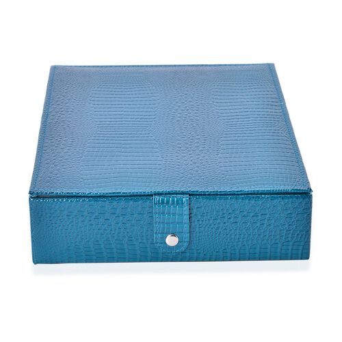 Teal Colour Lizard Embossed Ring Box with Snap Button Closure (Size 28X22X6 Cm)