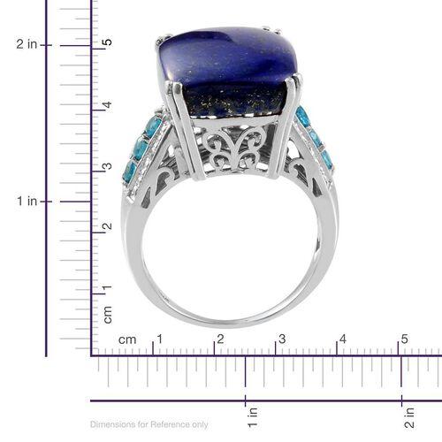 Lapis Lazuli (Cush 18.00 Ct), Malgache Neon Apatite and Diamond Ring in Platinum Overlay Sterling Silver 18.520 Ct.