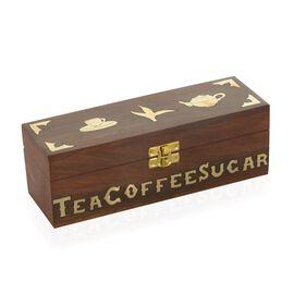 Wooden Tea-Coffee-Sugar Box (Size 23x8x8 Cm)