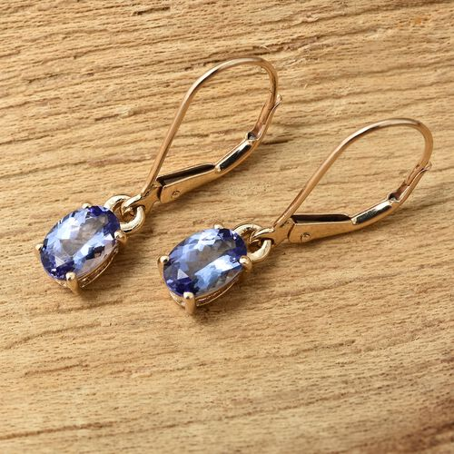 9K Yellow Gold 1.25 Ct AA Tanzanite Lever Back Earrings