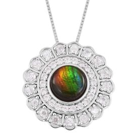 AA Canadian Ammolite (Rnd 8mm), Natural White Cambodian Zircon Flower Pendant with Chain in Rhodium Plated Sterling Silver 2.820 Ct. Silver wt 5.97 Gms.