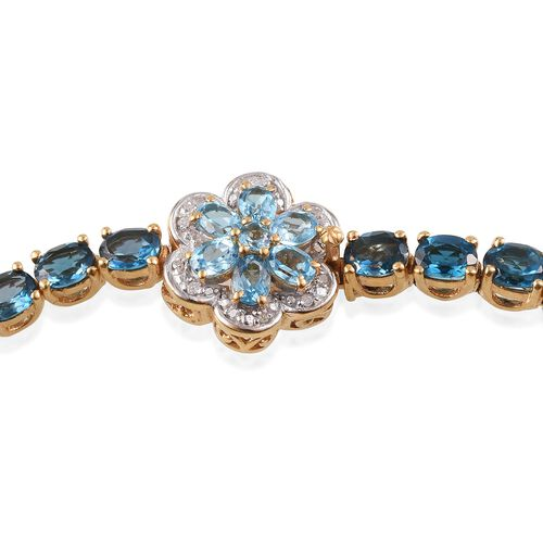 London Blue Topaz (Ovl), Electric Swiss Blue Topaz and Diamond Floral Bracelet (Size 8) in 14K Gold Overlay Sterling Silver 14.150 Ct.