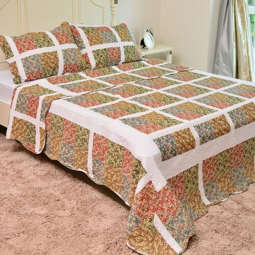 100% Cotton Red, Green, Blue and Multi Colour Floral Printed White Colour Quilt (Size 250X220 Cm) with 2 Shams (Size 70X50 Cm)