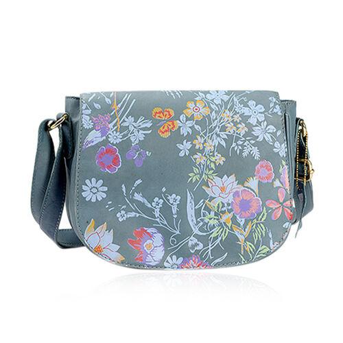 Genuine Leather RFID Blocker Teal, Pink and Multi Colour Floral Pattern Sling Bag with Adjustable Shoulder Strap (Size 24X20X7 Cm)
