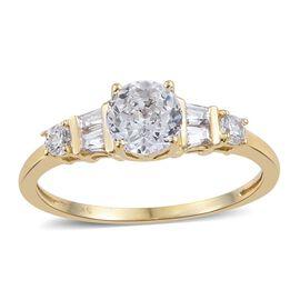 J Francis - 9K Yellow Gold Ring Made with Rose Cut SWAROVSKI ZIRCONIA