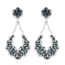 Designer Inspired-Blue Diamond (Bgt) Dangling Earrings (with Push Back) in Platinum Overlay Sterling Silver 0.500 Ct.