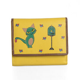 100% Genuine Leather Yellow, Green and Multi Colour Cat and Birds Pattern RFID Blocker Wallet (Size 13x11x2 Cm)