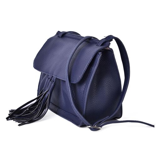Navy Colour Crossbody Bag with Adjustable Shoulder Strap and Tassels (Size 22.5x18x10 Cm)