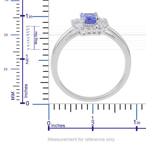 ILIANA 18K W Gold AAA Tanzanite (Oct 1.00 Ct), Diamond Ring 1.550 Ct.