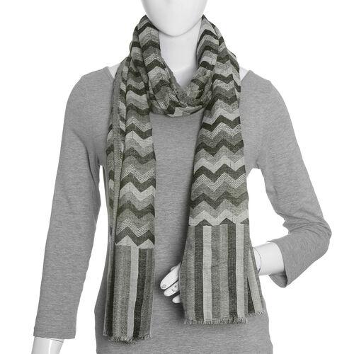 100% Cashmere Wool Black, Grey and White Colour Chevron Pattern Scarf (Size 180X70 Cm)
