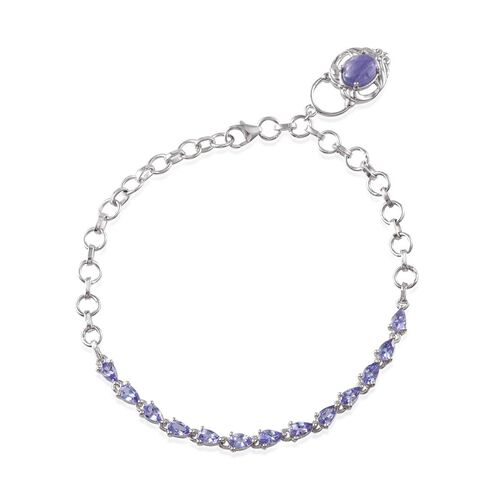 Tanzanite (Ovl 1.25 Ct) Bracelet in Platinum Overlay Sterling Silver (Size 8) 3.750 Ct.