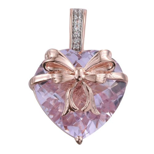 GP Rose De France (Hrt 14.00 Ct), White Topaz and Kanchanaburi Blue Sapphire Pendant in Rose Gold Overlay Sterling Silver 14.250 Ct.