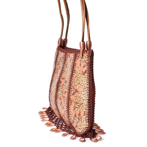 Crochet Lace and Dangling Charms Embellished Tan Floral Pattern Water Resistant Bag (Size 32X23 Cm)
