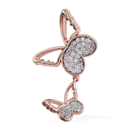 Kimberley Butterfly Collection Natural Cambodian Zircon (Rnd) Butterfly Pendant in Rose Gold Overlay Sterling Silver 0.500 Ct.