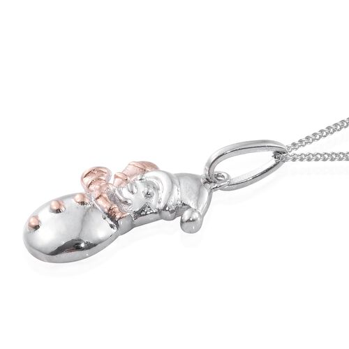 Platinum and Rose Gold Overlay Sterling Silver Snowman Pendant With Chain and Earrings (with Push Back), Silver wt. 4.95 Gms.