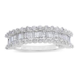 9K White Gold 1 Carat Diamond (Bgt) Ring SGL Certified (I3/G-H)