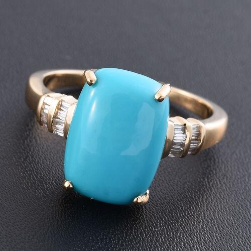 ILIANA 18K Y Gold AAA Arizona Sleeping Beauty Turquoise (Cush 5.75 Ct), Diamond (SI/G-H) Ring 6.000 Ct.