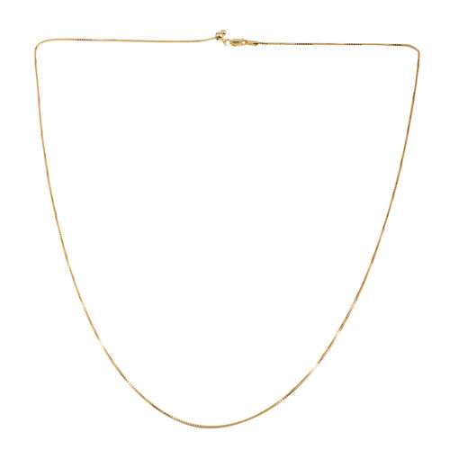 Close Out Deal 14K Gold Overlay Sterling Silver Diamond Cut Adjustable Box Chain (Size 24)