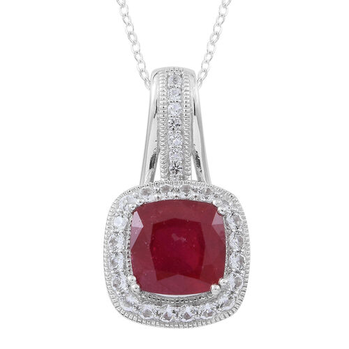 New Concept - African Ruby (Cush 6.20 Ct), White Topaz and Kanchanaburi Blue Sapphire Pendant with Chain in Rhodium Plated Sterling Silver 8.000 Ct.