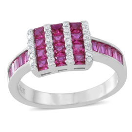 ELANZA AAA Simulated Ruby (Sqr), Simulated White Diamond Ring in Rhodium Plated Sterling Silver
