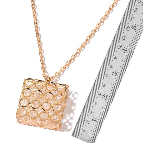 Simulated White Diamond Pendant With Chain in Gold Tone