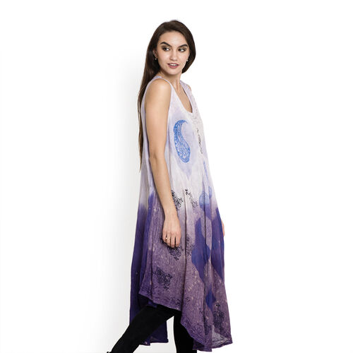 Summer Collection- Midi Length Paisley and Floral Pattern White and Dark Purple Colour Dress (Free Size)