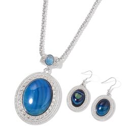 Blue Agate Pendant with Chain (Size 22 with 2 inch Extender) and Hook Earrings in Silver Tone 90.000 Ct.