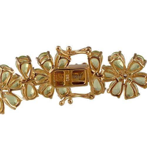 AA Hebei Peridot (Pear), White Topaz Bracelet in 14K Gold Overlay Sterling Silver (Size 7) 40.400 Ct.