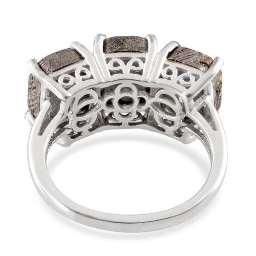 Meteorite (Cush) Trilogy Ring in Platinum Overlay Sterling Silver 16.000 Ct.