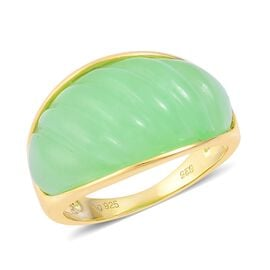 Green Jade Ring in Yellow Gold Overlay Sterling Silver 19.500 Ct.