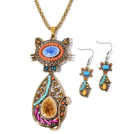Simulated Blue Howlite, Simulated Yellow Jade, Simulated Multi Gemstone, Champagne and Blue Austrian Crystal Cat Design Pendant With Chain (Size 28) and Earrings in Yellow Gold and Silver Tone