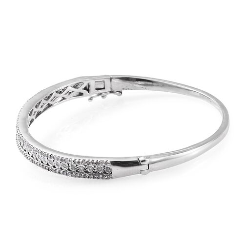 GP Diamond (Rnd), Kanchanaburi Blue Sapphire Bangle (Size 7.5) in Platinum Overlay Sterling Silver 1.000 Ct.