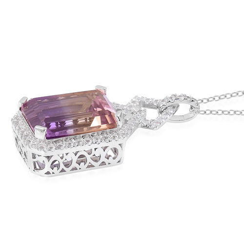 Anahi Ametrine (Oct 14.75 Ct), White Zircon Pendant with Chain in Platinum and Rhodium Overlay Sterling Silver 15.900 Ct.