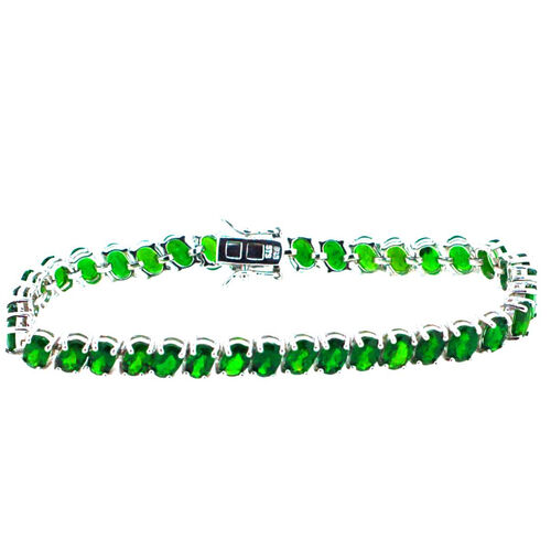 Russian Diopside (Ovl) Bracelet in Rhodium Plated Sterling Silver (Size 7.5) 18.250 Ct.
