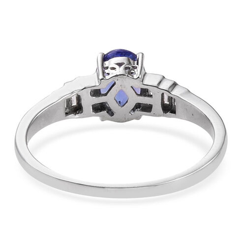ILIANA 18K W Gold Tanzanite (Ovl 1.00 Ct), Diamond Ring 1.250 Ct.