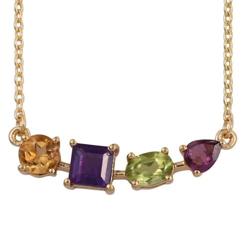 Amethyst (Sqr 0.60 Ct), Citrine, Hebei Peridot and Rhodolite Garnet Necklace (Size 18) in 14K Gold Overlay Sterling Silver 1.750 Ct.