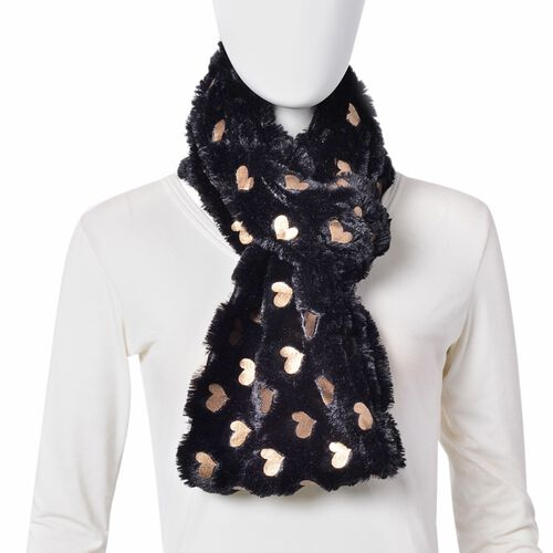 Designer Inspired - Black and Golden Colour Heart Pattern Faux Fur Infinity Scarf (Size 77x18 Cm)