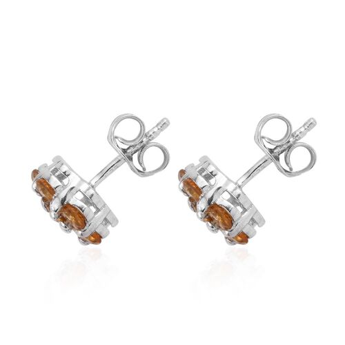 Citrine (Rnd) Floral Stud Earrings (with Push Back) in Platinum Overlay Sterling Silver 1.250 Ct.