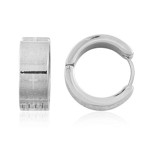 Lords Prayer Bar Adjustable Bracelet (Size 6.5-8) and Hoop Earrings in Stainless Steel