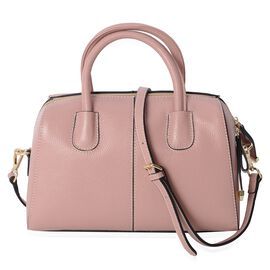 100% Genuine Leather Pink Colour Tote Bag with Removable Shoulder Strap (Size 29x20x13 Cm)